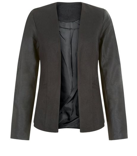 Brave Soul Black Leather-Look Sleeve Blazer | New Look