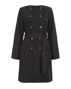 Brave Soul Black Collarless Belted Trench Coat | New Look
