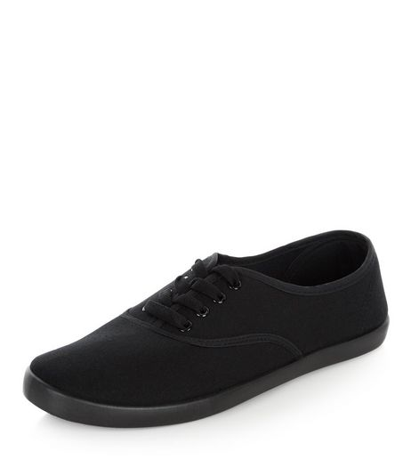Black Lace Up Plimsolls  | New Look