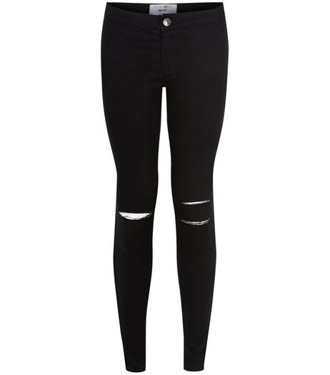 Teens Black Ripped Knee High Waist Super Skinny Jeans  | New Look