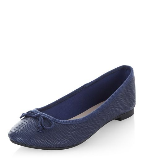 Navy Textured Ballet Pumps | New Look