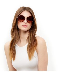 Brown Round Sunglasses  | New Look