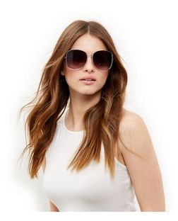 Cream Oversized Chain Side Sunglasses | New Look