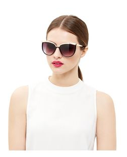 Black Contrast Metal Bar Cat Eye Sunglases | New Look