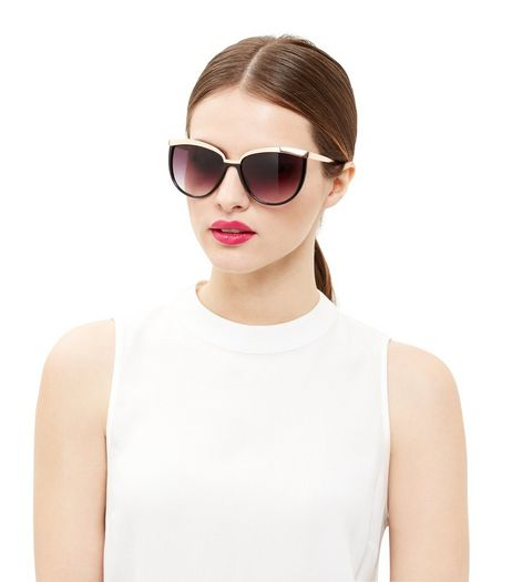Black Contrast Metal Bar Cat Eye Sunglasses | New Look