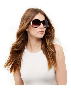Black Oversized Metal Side Bar Sunglasses | New Look