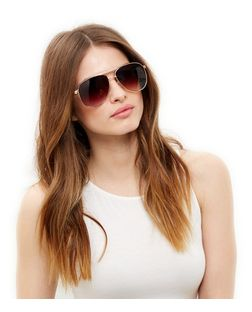 Rose Gold Plait Side Pilot Sunglasses | New Look