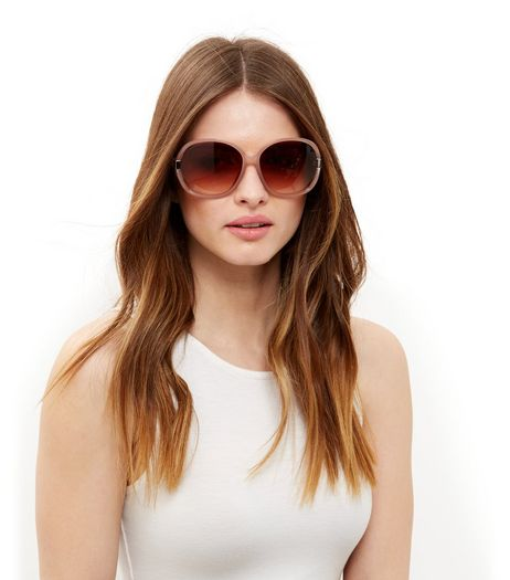 Stone Cut Out Side Rectangle Sunglasses | New Look