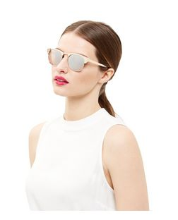 Gold Half Rim Sunglasses | New Look