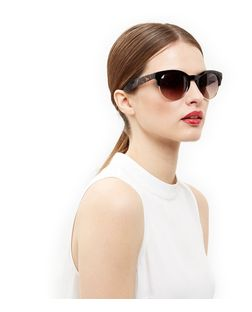 Brown Tortoiseshell Print Half Frame Sunglasses | New Look