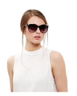 Black Metal Bar Cat Eye Sunglasses  | New Look