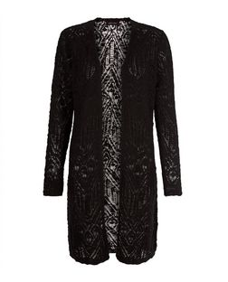 Black Pointelle Lace Slub Cardigan  | New Look