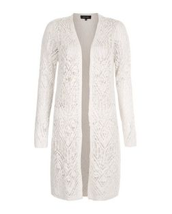 Cream Pointelle Lace Slub Cardigan  | New Look