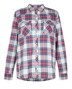 Brave Soul Red Check Double Pocket Long Sleeve Shirt | New Look