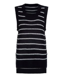 Brave Soul Navy Stripe Knitted Vest | New Look