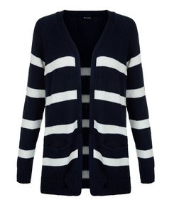 Brave Soul Navy Stripe Longline Cardigan  | New Look