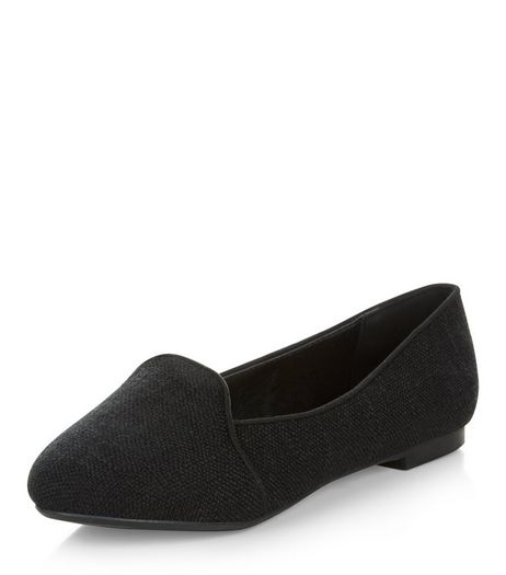 Wide Fit Black Woven Slipper Shoes  | New Look