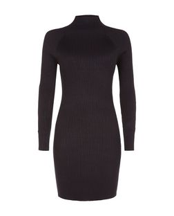 Blue Vanilla Black Ribbed High Neck Dress  | New Look