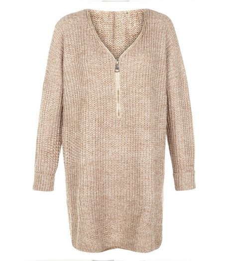 Blue Vanilla Camel Zip Front Ribbed Tunic | New Look