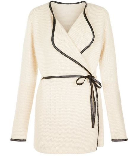 Blue Vanilla Cream Leather-Look Trim Knitted Cardigan | New Look