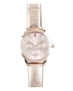 Rose Gold Metallic Strap Sports Watch  | New Look