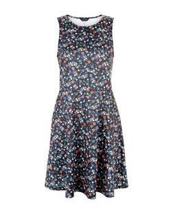 Black Ditsy Floral Print Sleeveless Skater Dress  | New Look