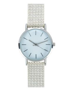 Stone Metallic Linen Strap Watch  | New Look