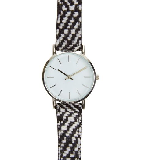 Monochrome Woven Strap Watch  | New Look