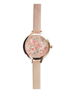 Pink Floral Print Face Wrap Around Watch | New Look