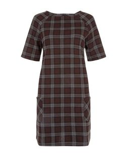 Red Check Double Pocket Tunic Dress  | New Look