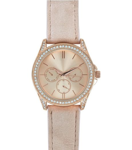 Rose Gold Embellished Leather-Look Strap Sports Watch  | New Look