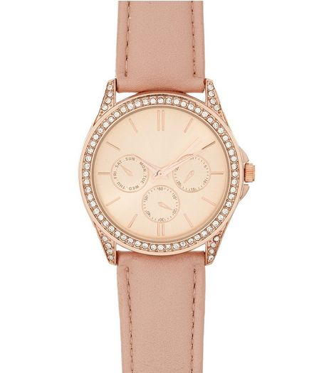 Mid Pink Diamanté Sports Watch | New Look