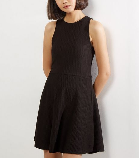 Black Jacquard Textured Skater Dress | New Look