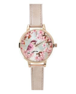 Pink Floral Bird Print Face Watch  | New Look