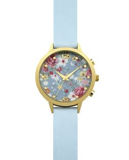 Blue Floral Print Face Watch  | New Look