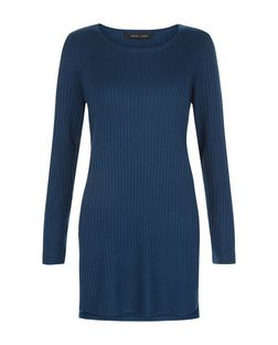 Navy Ribbed Longline Split Side Top  | New Look