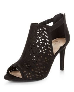 Wide Fit Black Laser Cut Out Peeptoe Heeled Boots  | New Look