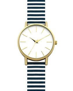 White Stripe Leather-Look Strap Watch | New Look