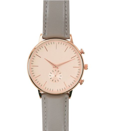 Grey Leather Oversized Watch | New Look