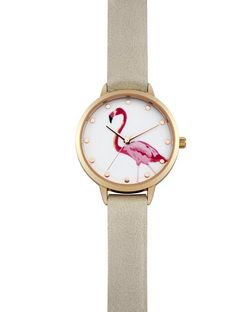 Pink Flamingo Print Face Watch | New Look