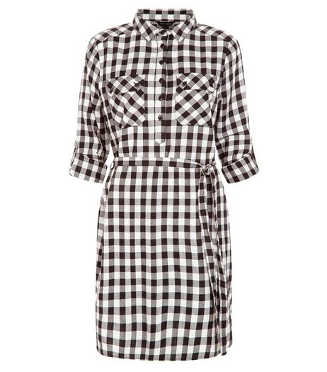White Check Belted Shirt Dress | New Look