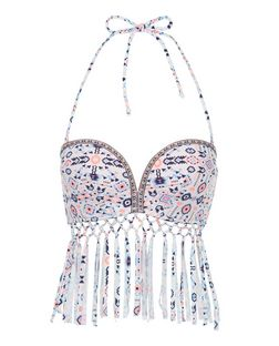 White Abstract Print Fringed Extreme Push Up Bikini Top | New Look