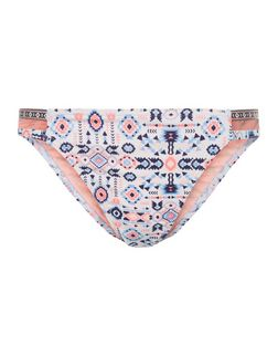 White Abstract Print Strappy Side Bikini Bottoms | New Look