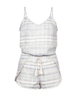 Blue Stripe Pom Pom Trim Playsuit | New Look