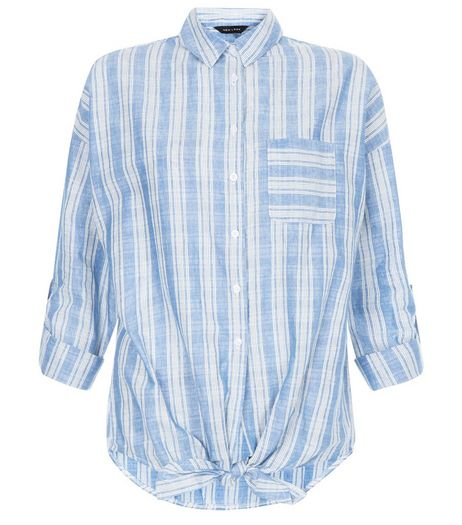 Blue Stripe Single Pocket Tie Front Roll Sleeve Shirt  | New Look