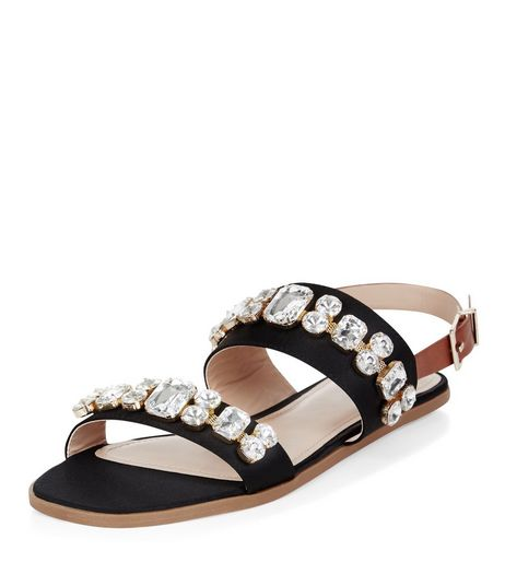 Black Jewel Embellished Sling Back Sandals  | New Look