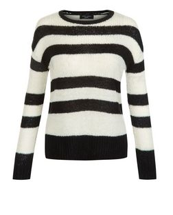 Petite Black Stripe Jumper | New Look