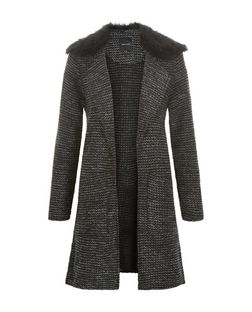 Black Faux Fur Coat Textured Longline Jacket  | New Look