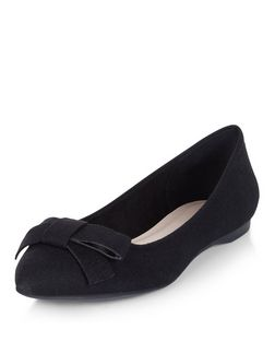 Black Bow Front Pointed Pumps  | New Look