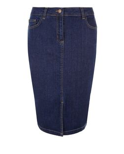 Blue Denim Split Front Pencil Skirt  | New Look